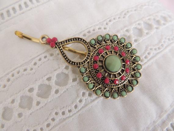 Wedding - Stunning Hair Pin,bridal hairpin Bronze Hair Clip,Mint Green, Vintage Style Pin  Bobby Pins 'Michal Negrin' style,Wedding Bridal Hair Clip