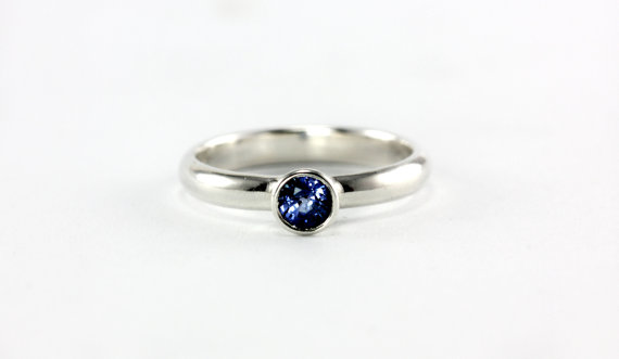 Hochzeit - Blue Sapphire Princess Ring - Wedding Band Engagement Ring Promise Ring - Sterling Silver, 14k Palladium White, Yellow Gold, Rose Gold