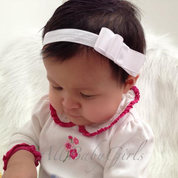 Plain White Bow Headband For Newborns 3ea9d3ea329