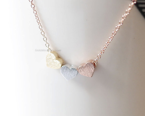 Hochzeit - Tiny 3 hearts necklace, three hearts gold, silver, rose gold on gold, silver, rose gold chain.daint, simple, birthday, wedding, bridesmaid