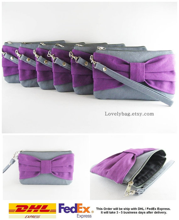 Mariage - Set of 8 Clutch Bridesmaids, Clutch Wedding / Gray with Eggplant Purple Bow Clutches - MADE TO ORDER