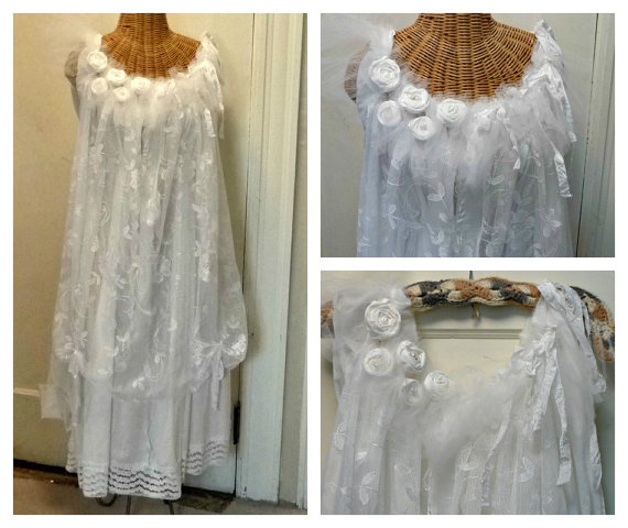 Bouquet Wedding Dress Boho Gown Size Medium Large Lace And Roses