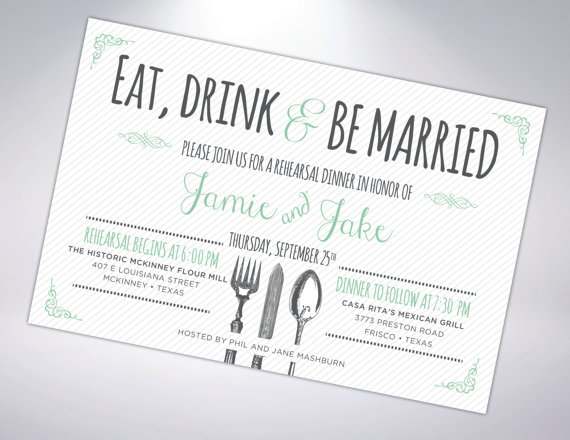 Mariage - Rehearsal Dinner Invitation; Postcard Optional