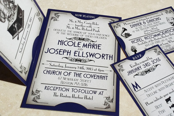 NEW The Gatsby Ball Ticket Wedding Invitations Great Gatsby Themed Wedding