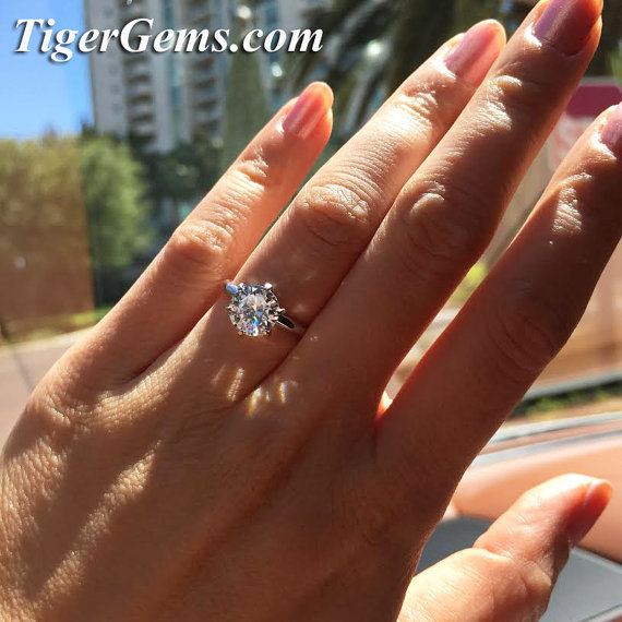 14k white gold 2 carat 6 prong round solitaire engagement man made diamond simulant wedding ring bridesmaid promise ring anniversary - 2 Carat Wedding Ring