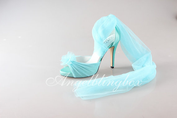 2015 Light Blue Tulle Du0027orsay Shoes, Light Blue Prom Shoes, Custom Tulle  Party Shoes, Light Blue Wedding Shoes In Handmade