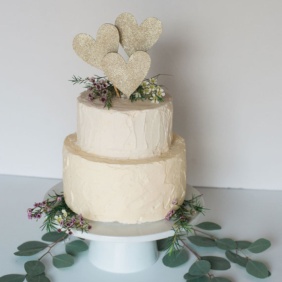 GOLD Or SILVER Glitter Heart Wedding Cake Topper
