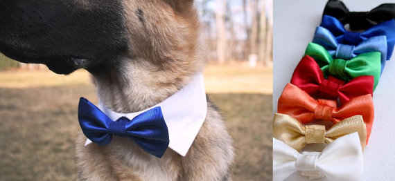 Mariage - Cat Shirt Collar Set with Satin Bow Tie Dog Wedding Pointed Shirt Collar Adjustable Removable Blue Red Green Gold Bowtie