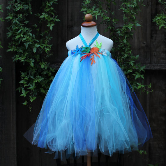 Mariage - Beach Flower Girl Dress - Beach wedding- coastal wedding - beach party dress - blue flower girl dress - ocean them wedding