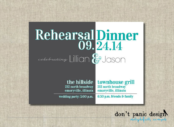 Wedding - Fun Printable Rehearsal Dinner Invitation - Charcoal Gray Turquoise - Custom Colors