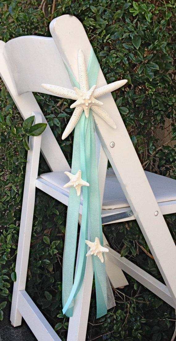 Beach Wedding Starfish Chair Decoration Each With 4 Natural Starfish