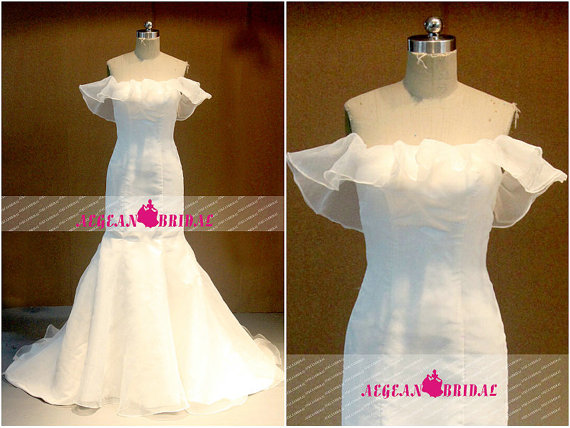 Mariage - RW655 Off Shoulder Wedding Dress Mermaid Bridal Dress Satin Wedding Gown with Lace Up Back