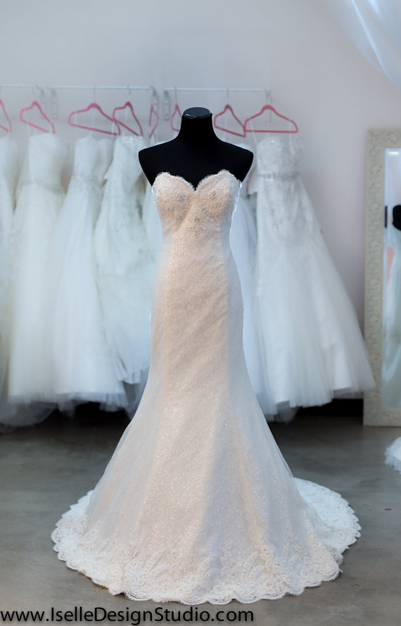 Wedding - SAMPLE SALE - Lace Wedding Dress- Mermaid, Ivory, Sweetheart Neckline, Fit and Flare, Beads