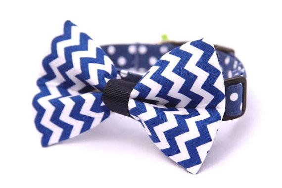 Свадьба - Classic Chevron Bow Tie for Dog Collar