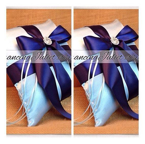 Hochzeit - Romantic Satin Elite Ring Bearer Pillow...You Choose the Colors...SET OF 2...shown in light blue/Navy blue