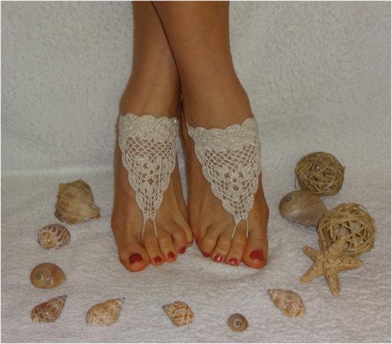 Hochzeit - Crochet Barefoot Sandals,Beach Pool,Nude shoes,Wedding shoes,White golden sandles