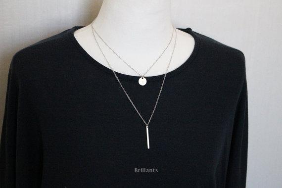 زفاف - Skinny Bar pendant necklace, Gold bar, Silver bar, Geometric, Lyered, Bridesmaid jewelry, Everyday necklace, Wedding necklace