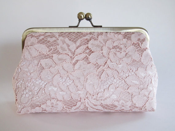 Hochzeit - Blush Satin And Lace Clutch,Bridal Accessories,Bridesmaid Clutch,Wedding Clutch,Bridal Clutch,Bags And Purses,