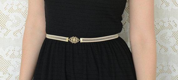 Mariage - Elastic Net Lace Bridal Belt - Gold Buckle Belt - Vintage Inspired - Nude belt - Wedding Dress Belt - Evening Dress Belt - Strech Belt