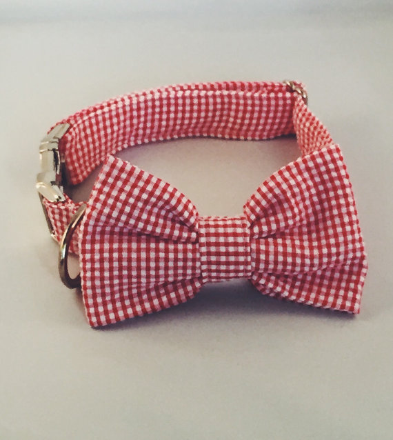 Свадьба - Preppy Red Gingham Bow Tie Dog Collar, Red Check Bow Tie Dog Collar, Red Plaid Dog Collar, Bowtie Dog Collar