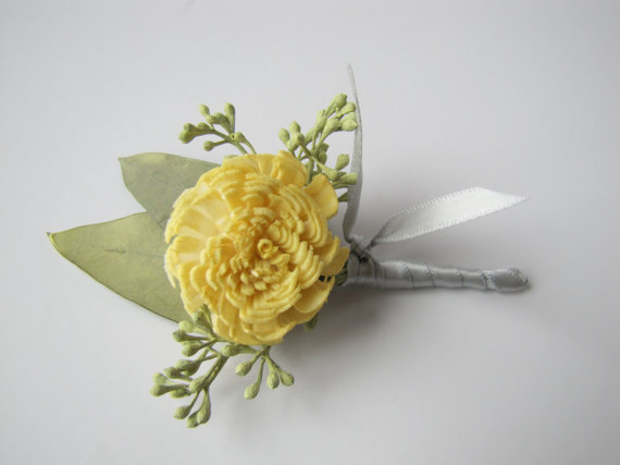 Mariage - Yellow Boutonniere - Yellow Wedding Boutonniere - Yellow Wedding - Men's Boutonniere - Prom Boutonniere - Keepsake Boutonniere - Ring Bearer