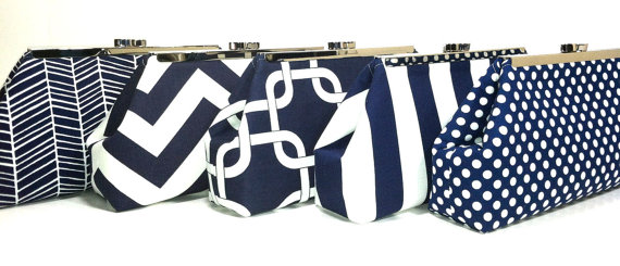 Свадьба - Bridesmaids Clutches Wedding Clutch Choose Your Fabric Navy Blue Set of 8