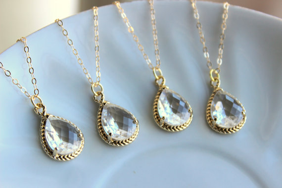 Hochzeit - 15% OFF SET OF 5 Crystal Clear Necklace Gold Wedding Jewelry - Set of 5 Necklaces Bridesmaid Gift Bridesmaid Jewelry Crystal Bridal Jewelry