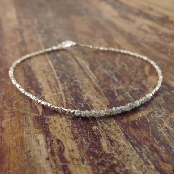 زفاف - Diamonds in the Rough Silver Beaded Bracelet Gemstone Stone Beadwork Wedding Jewelry Bridal Accessories Bridesmaid Gifts Maid of Honor Gift