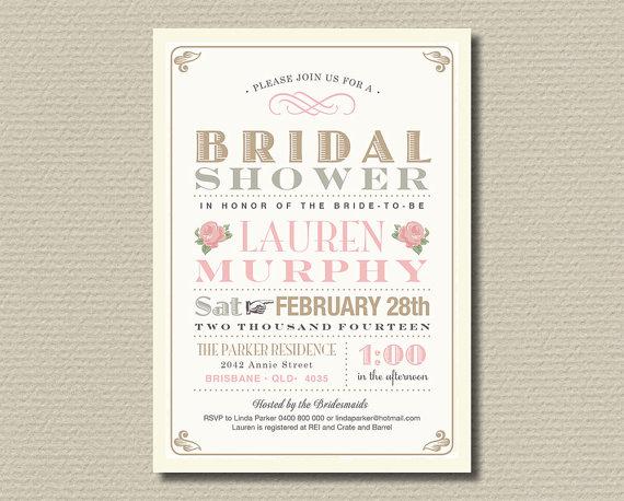 printable bridal shower invitation gold and blush vintage rose br156