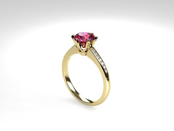 زفاف - Pink tourmaline ring, diamond, Yellow gold, Engagement ring, solitaire, Pink engagement, Micro pave, Diamond engagement