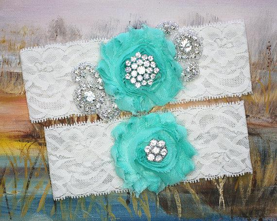 Свадьба - MARIELLA - Opal Chiffon Rose Wedding Lace Garters, Rhinestone Bridal Garter Set, Something blue