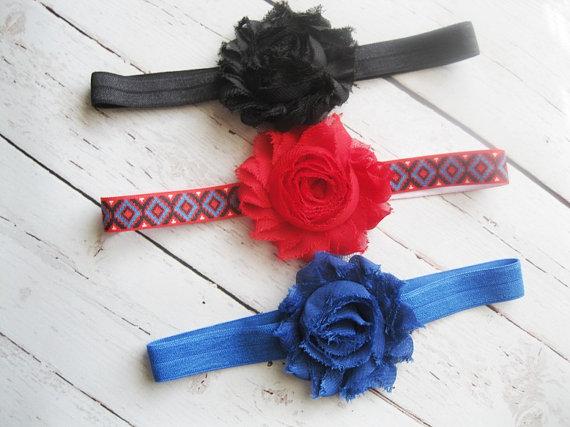 Mariage - Set of 3 shabby headband set - chiffon headbands - newborn baby girl headband - baby shower - Aztec Tribal Headbands -royal blue red black