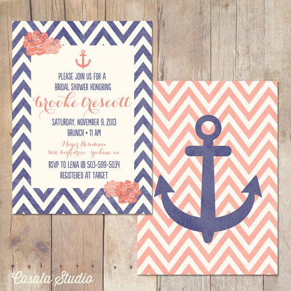 nautical chic floral chevron navy and coral bridal shower, Baby shower invitations