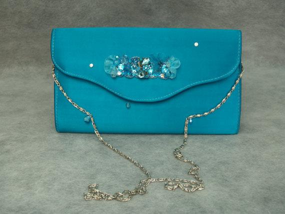 Hochzeit - Wedding TEAL clutch bag satin TEAL appliqués and Handmade crystals brooch
