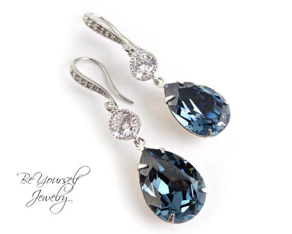 602a20adcd8ec Blue Bridal Teardrop Earrings Swarovski Crystal Denim Blue Earring ...
