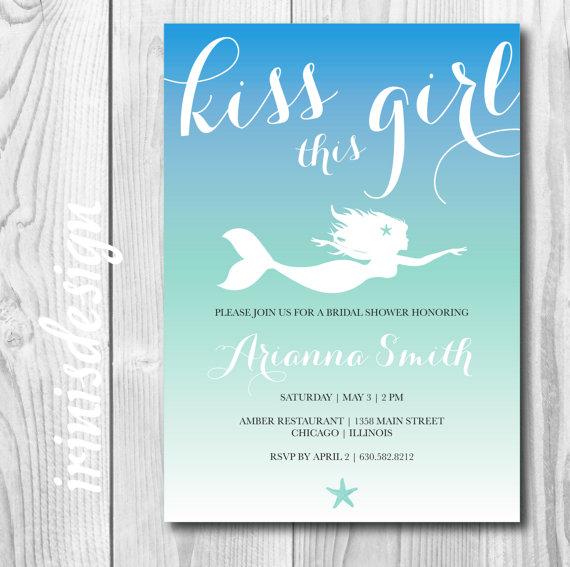 Hochzeit - Mermaid Princess Bridal Wedding Shower invite