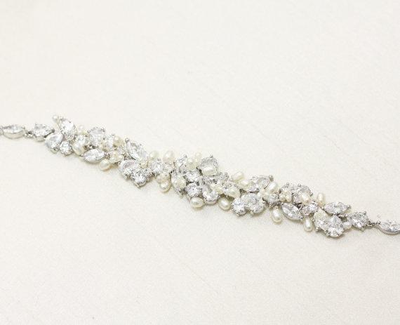 Mariage - Wedding Jewelry Rhinestone, Freshwater Pearl and Swarovski Crystal Bridal Belt