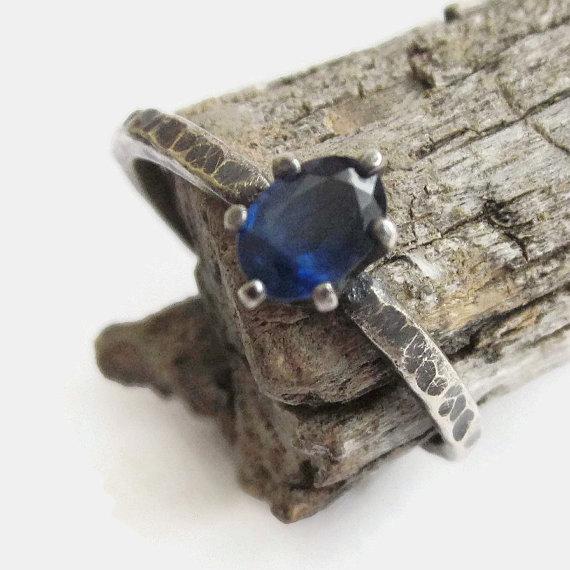 زفاف - Sapphire Ring, Blue Sapphire Ring Sapphire Engagement Ring September Birthstone Ring Sterling Silver Sapphire Stacking Ring