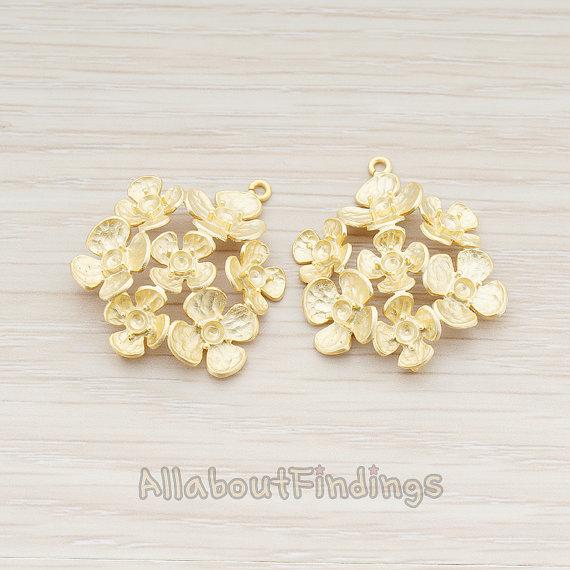 Свадьба - CNT013-02-MG // Matte Gold Plated Seven Flower Bouquet Connector, 2 Pc