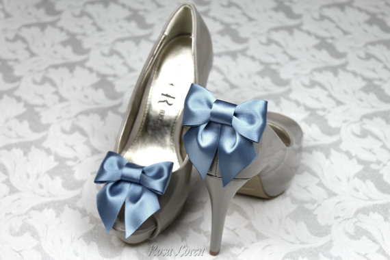 Свадьба - Blue Bow Shoe Clips, Something Blue Shoe Clip, Blue Wedding Accessories Shoes Clip, Blue Bow Clip Shoes