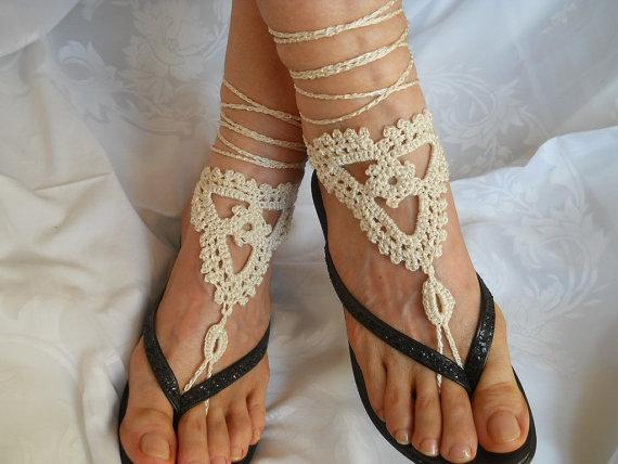 Свадьба - CROCHET BAREFOOT SANDALS / Barefoot Sandles Shoes Beads Victorian Anklet Crochet Women Wedding Sexy Accessories Bridal Elegant Feminine 3