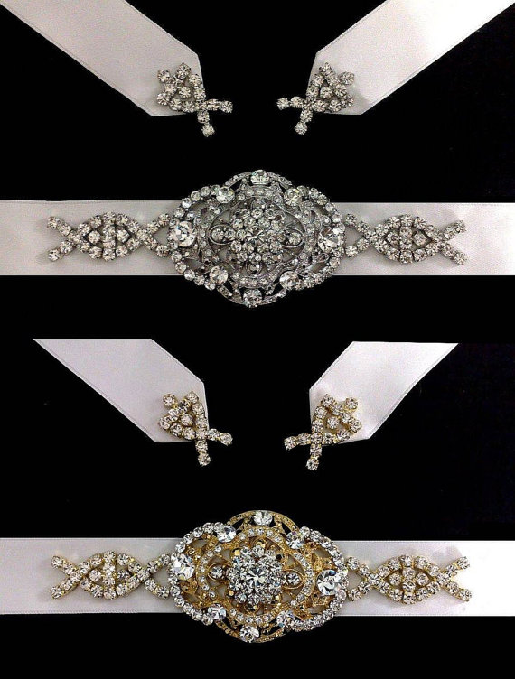 Mariage - Gatsby Wedding Sash, Statement Bridal Belt, Art Deco Victorian Dress Jewelry, COUNTESS