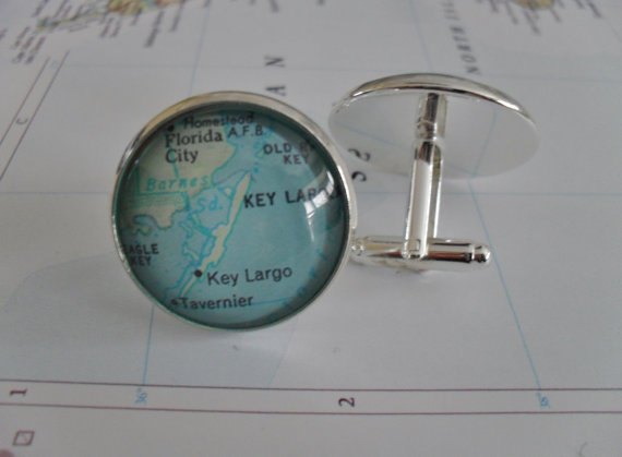 Largo Florida Map.Key Largo Florida Map Silver Cuff Links Father S Day Groomsmen