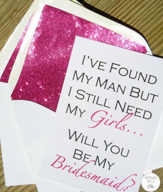 Mariage - Be My Bridesmaid Card // Fuchsia Glitter Liner // White Envelope