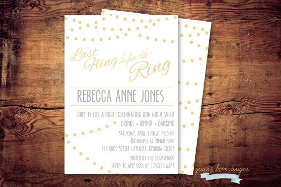 زفاف - Printable Bachelorette - Last Fling Before The Ring Invites (digital file) DIY Printing at home or your choice of printer
