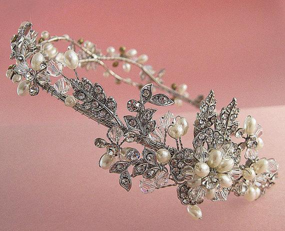 زفاف - Nature inspired floral headband, Vine leaf design tiara,  Crystal, pearl  and  rhinestone bridal headband,Wedding headpiece
