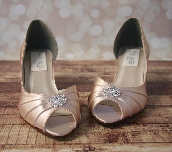 Blush Wedding Shoes Pink Kitten Heels With Simple Rhinestone Adornment