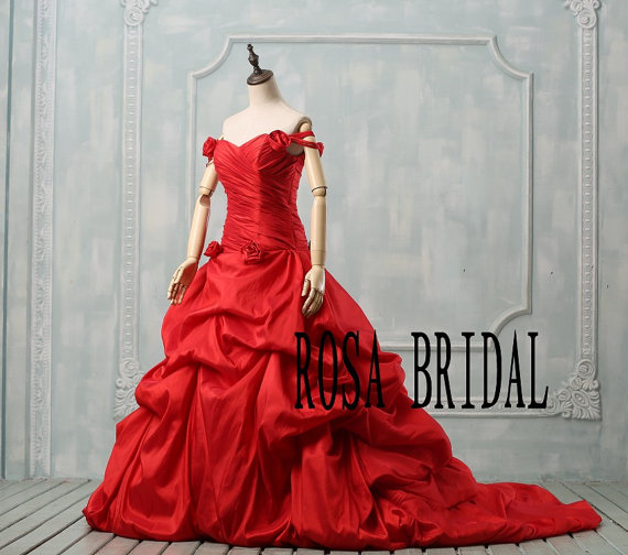 Red Wedding Dress Plus Size, Off The Shoulder Wedding Dress, Plus ...