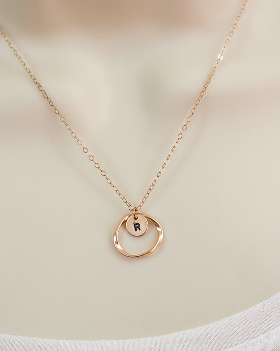Personalized rose gold initial necklace circle necklace for Rose gold personalized jewelry