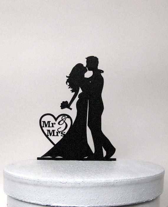 زفاف - Wedding Cake Topper - Bride and Groom Wedding silhouette with Mr & Mrs
